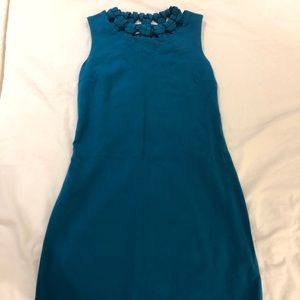 Blue DVF dress with patterned neck